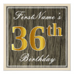 [ Thumbnail: Elegant, Faux Wood, Faux Gold 36th Birthday + Name Invitation ]
