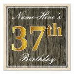 [ Thumbnail: Elegant, Faux Wood, Faux Gold 37th Birthday + Name Invitation ]
