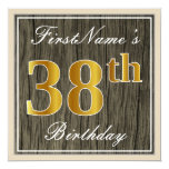 [ Thumbnail: Elegant, Faux Wood, Faux Gold 38th Birthday + Name Invitation ]