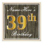 [ Thumbnail: Elegant, Faux Wood, Faux Gold 39th Birthday + Name Invitation ]