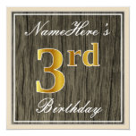 [ Thumbnail: Elegant, Faux Wood, Faux Gold 3rd Birthday + Name Invitation ]
