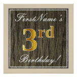 [ Thumbnail: Elegant, Faux Wood, Faux Gold 3rd Birthday + Name Poster ]