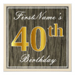 [ Thumbnail: Elegant, Faux Wood, Faux Gold 40th Birthday + Name Invitation ]