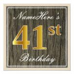 [ Thumbnail: Elegant, Faux Wood, Faux Gold 41st Birthday + Name Invitation ]