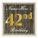 [ Thumbnail: Elegant, Faux Wood, Faux Gold 42nd Birthday + Name Invitation ]