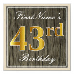 [ Thumbnail: Elegant, Faux Wood, Faux Gold 43rd Birthday + Name Invitation ]