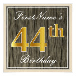[ Thumbnail: Elegant, Faux Wood, Faux Gold 44th Birthday + Name Invitation ]