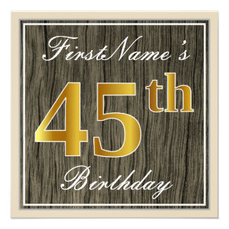 Elegant, Faux Wood, Faux Gold 45th Birthday + Name Card