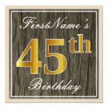 [ Thumbnail: Elegant, Faux Wood, Faux Gold 45th Birthday + Name Invitation ]
