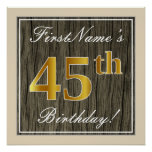 [ Thumbnail: Elegant, Faux Wood, Faux Gold 45th Birthday + Name Poster ]