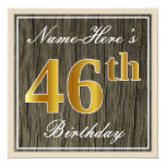 [ Thumbnail: Elegant, Faux Wood, Faux Gold 46th Birthday + Name Invitation ]