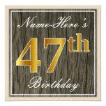 [ Thumbnail: Elegant, Faux Wood, Faux Gold 47th Birthday + Name Invitation ]