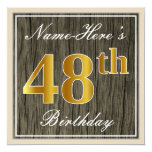 [ Thumbnail: Elegant, Faux Wood, Faux Gold 48th Birthday + Name Invitation ]