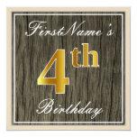 [ Thumbnail: Elegant, Faux Wood, Faux Gold 4th Birthday + Name Invitation ]
