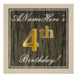[ Thumbnail: Elegant, Faux Wood, Faux Gold 4th Birthday + Name Poster ]