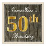 [ Thumbnail: Elegant, Faux Wood, Faux Gold 50th Birthday + Name Invitation ]