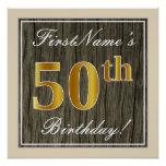 [ Thumbnail: Elegant, Faux Wood, Faux Gold 50th Birthday + Name Poster ]
