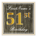 [ Thumbnail: Elegant, Faux Wood, Faux Gold 51st Birthday + Name Invitation ]