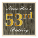[ Thumbnail: Elegant, Faux Wood, Faux Gold 53rd Birthday + Name Invitation ]