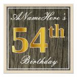 [ Thumbnail: Elegant, Faux Wood, Faux Gold 54th Birthday + Name Invitation ]