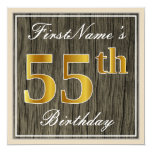 [ Thumbnail: Elegant, Faux Wood, Faux Gold 55th Birthday + Name Invitation ]