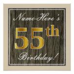 [ Thumbnail: Elegant, Faux Wood, Faux Gold 55th Birthday + Name Poster ]