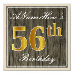 [ Thumbnail: Elegant, Faux Wood, Faux Gold 56th Birthday + Name Invitation ]