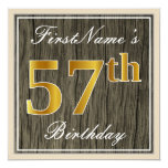 [ Thumbnail: Elegant, Faux Wood, Faux Gold 57th Birthday + Name Invitation ]