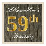 [ Thumbnail: Elegant, Faux Wood, Faux Gold 59th Birthday + Name Invitation ]