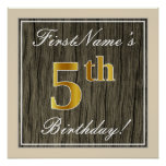 [ Thumbnail: Elegant, Faux Wood, Faux Gold 5th Birthday + Name Poster ]