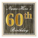 [ Thumbnail: Elegant, Faux Wood, Faux Gold 60th Birthday + Name Invitation ]