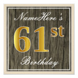[ Thumbnail: Elegant, Faux Wood, Faux Gold 61st Birthday + Name Invitation ]