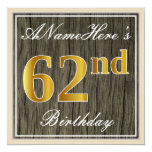 [ Thumbnail: Elegant, Faux Wood, Faux Gold 62nd Birthday + Name Invitation ]