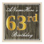 [ Thumbnail: Elegant, Faux Wood, Faux Gold 63rd Birthday + Name Invitation ]