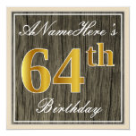 [ Thumbnail: Elegant, Faux Wood, Faux Gold 64th Birthday + Name Invitation ]