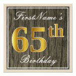 [ Thumbnail: Elegant, Faux Wood, Faux Gold 65th Birthday + Name Invitation ]