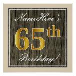 [ Thumbnail: Elegant, Faux Wood, Faux Gold 65th Birthday + Name Poster ]