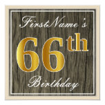 [ Thumbnail: Elegant, Faux Wood, Faux Gold 66th Birthday + Name Invitation ]