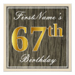 [ Thumbnail: Elegant, Faux Wood, Faux Gold 67th Birthday + Name Invitation ]