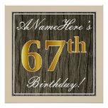 [ Thumbnail: Elegant, Faux Wood, Faux Gold 67th Birthday + Name Poster ]