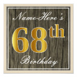 [ Thumbnail: Elegant, Faux Wood, Faux Gold 68th Birthday + Name Invitation ]