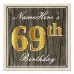 [ Thumbnail: Elegant, Faux Wood, Faux Gold 69th Birthday + Name Invitation ]