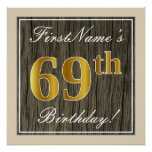 [ Thumbnail: Elegant, Faux Wood, Faux Gold 69th Birthday + Name Poster ]