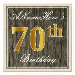 [ Thumbnail: Elegant, Faux Wood, Faux Gold 70th Birthday + Name Invitation ]