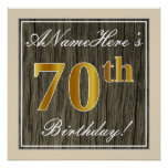 [ Thumbnail: Elegant, Faux Wood, Faux Gold 70th Birthday + Name Poster ]