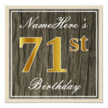 [ Thumbnail: Elegant, Faux Wood, Faux Gold 71st Birthday + Name Invitation ]