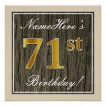 [ Thumbnail: Elegant, Faux Wood, Faux Gold 71st Birthday + Name Poster ]