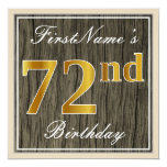 [ Thumbnail: Elegant, Faux Wood, Faux Gold 72nd Birthday + Name Invitation ]