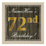 [ Thumbnail: Elegant, Faux Wood, Faux Gold 72nd Birthday + Name Poster ]