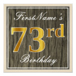 [ Thumbnail: Elegant, Faux Wood, Faux Gold 73rd Birthday + Name Invitation ]